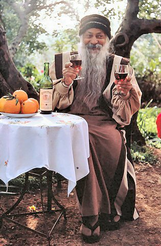 osho with two glasses of whine
